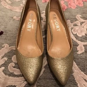 Gold sparkly glitter heels size 9